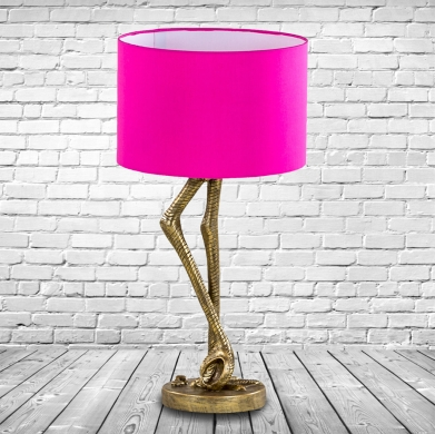 Pair of Antique Gold Flamingo Leg Table Lamps with Hot Pink Shade.