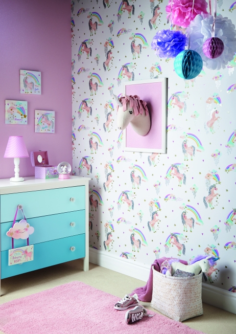 Arthouse Rainbow Unicorn Pink Wallpaper