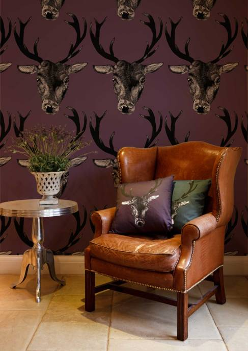 Graduate Collection Stag Wallpaper - Plum